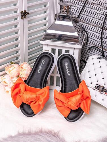 700a37a417 MODANOEMI Pohodlné oranžové šľapky s mašľou Bello Star LC709O - Glami.sk
