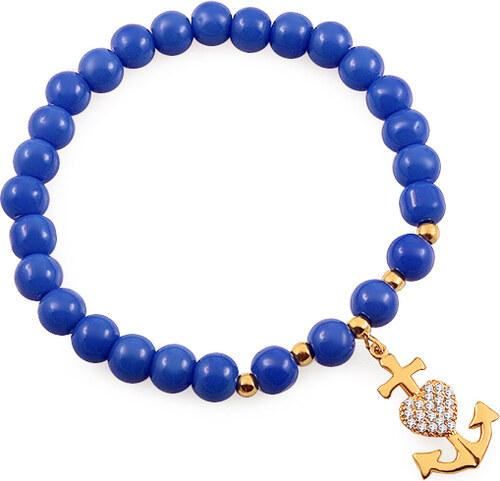 f0ba2a3f9 iZlato Forever Náramok s modrými guľôčkami a zlatou kotvou so zirkónmi  IZ9157B
