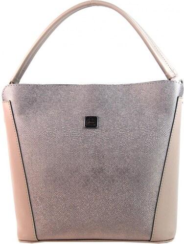95e24b67a3 Růžovo-stříbrná brokátová elegantní dámská kabelka S691 GROSSO ...