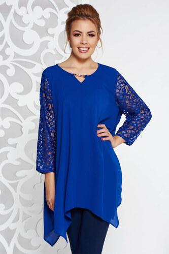 efbbccf513 StarShinerS Kék elegáns bő szabású női blúz fátyol anyag csipke ujj  asszimmetrikus szabással