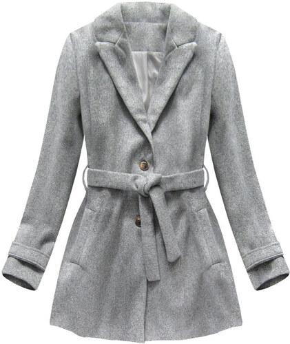 66f565a5f7 Jejmoda Dámsky kabát s opaskom MODA808 šedý - Glami.sk