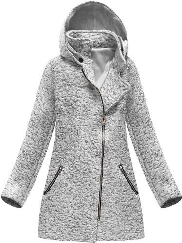 e1d6097f4b Jejmoda Dámsky asymetrický kabát MODA174 šedý - Glami.sk