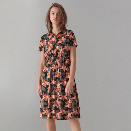 Mohito - Košilové květované šaty - Zelená - Glami.cz 3b59d350b6f