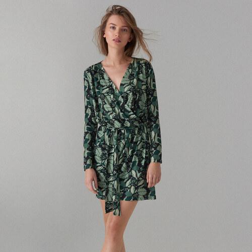 Mohito - Zavinovací šaty s vázáním v pase - Zelená - Glami.cz 24dc9714601