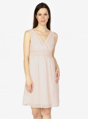 c7ea14575604 Vero Moda světle růžové šaty s véčkovým výstřihem Mira XL - Glami.cz