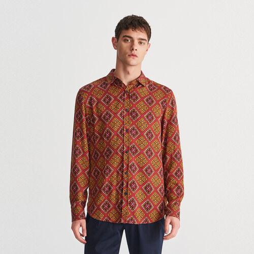 077d9a4a85 Reserved - Vzorovaná viskózová košeľa - Hnědá - Glami.sk