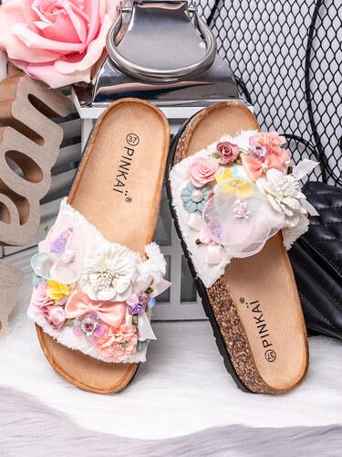 0f1adfdf925f MODANOEMI Korkové denim bílé pantofle s květinami Pinkai W001B ...