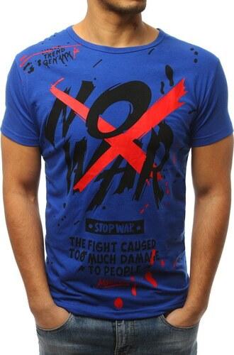7a72940831d0 BASIC Pánske modré tričko s potlačou (rx3065) - Glami.sk