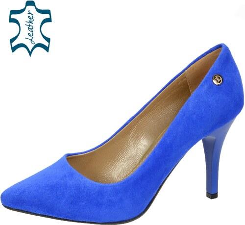 f61432c1bcd OLIVIA SHOES Modré lodičky z brúsenej kože A944-861 - Glami.sk