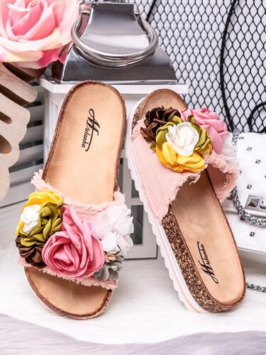 3314ed57a85d MODANOEMI Korkové denim růžové pantofle s květinami Mulanka TS-22R ...