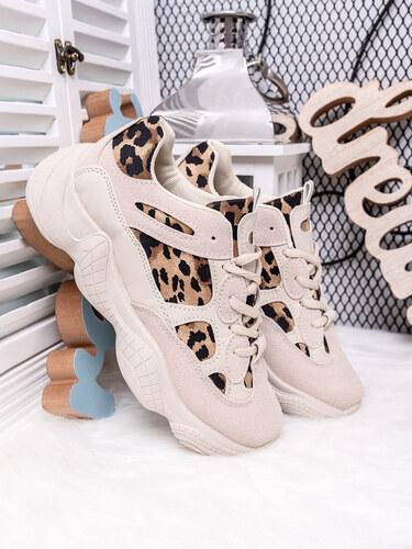 MODANOEMI Dámske béžové tenisky s leopardím vzorom M-20BEL - Glami.sk cf1f2ba622a