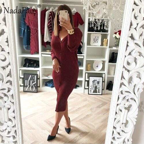 828adc05f6da Nadafair Pletené dlhé šaty s gombíkmi s dlhým rukávom