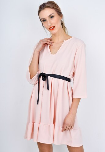 407f41c428aa Rouzit Krátke ružové letné šaty so stuhou - Glami.sk