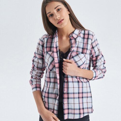 c79e79379bef Cropp - Jemne károvaná košeľa - Ružová - Glami.sk