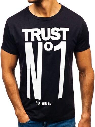 17f95d414bb13 Čierne pánske tričko s potlačou BOLF 10819 - Glami.sk