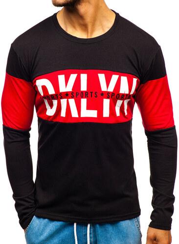 1f7929c49d909 Čierne pánske tričko s dlhými rukávmi s potlačou BOLF XXS1090 - Glami.sk