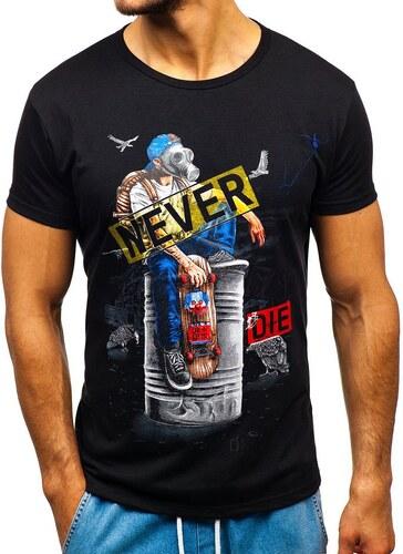 3e0bbb40ef2f8 Čierne pánske tričko s potlačou BOLF KS1876 - Glami.sk