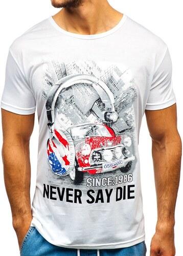 2ab9b28902a92 Biele pánske tričko s potlačou BOLF KS1842 - Glami.sk