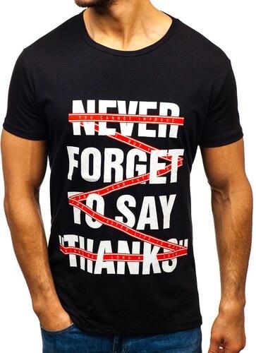 616b6874bd41d Čierne pánske tričko s potlačou BOLF KS1870 - Glami.sk