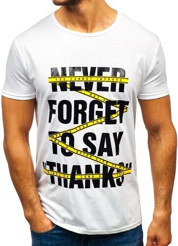 387b4d9b4d451 Biele pánske tričko s potlačou BOLF KS1870 - Glami.sk