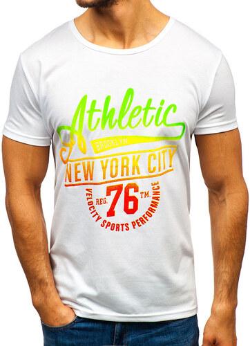 8f1ef5710f95d Biele pánske tričko s potlačou BOLF KS1838 - Glami.sk