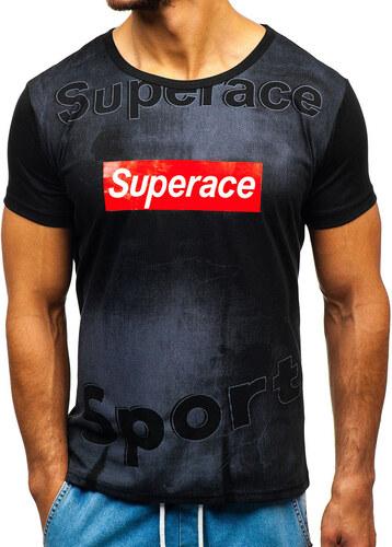 56c67d965d32c Čierne pánske tričko s potlačou BOLF KS1829 - Glami.sk