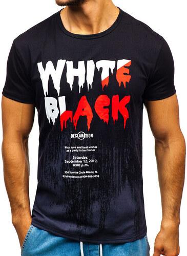816ab9956c546 Čierne pánske tričko s potlačou BOLF SS726 - Glami.sk