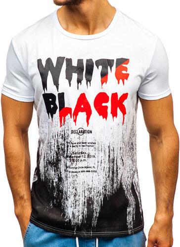 1ac36b6ef1b21 Biele pánske tričko s potlačou BOLF SS726 - Glami.sk