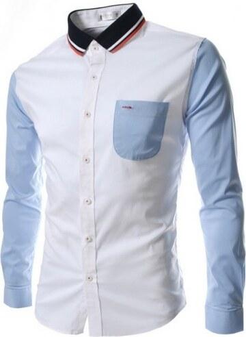 Pánská košile Slim Fit Morlo bledě modrá AKCE - modrá