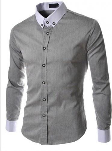 Pánská košile Slim Fit Denny šedá - šedá - Glami.cz 74cd65ca23