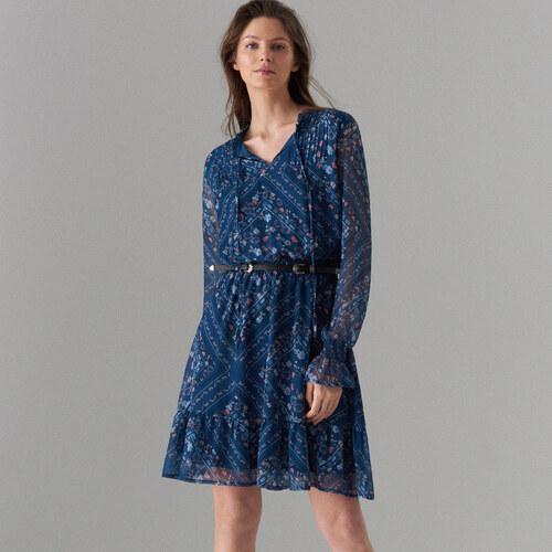 Mohito - Květované šaty s ozdobným vázáním - Modrá - Glami.cz 090920ecb8e