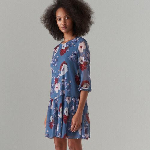 Mohito - Šifonové květované šaty - Modrá - Glami.cz 23d9f1839d5
