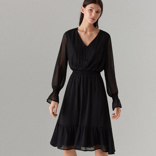 Mohito - Šifónové šaty s volánem - Černý - Glami.cz 5d36d5d992b