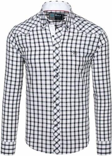 2347bf024275 Nové Čierna pánska elegantná kockovaná košeľa s dlhými rukávmi BOLF 5812