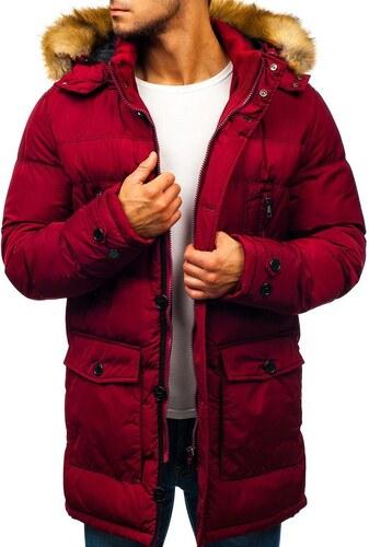 ec8e1d7b05 Férfi téli parka dzseki bordó színben Bolf R110 - Glami.hu