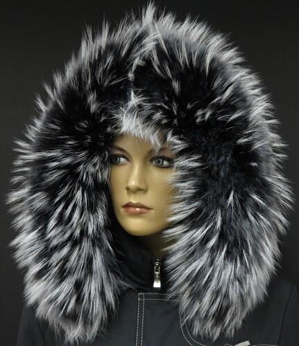 Špongr Kožešinový lem límec na kapuci z finského mývalovce 1020 BLACK    WHITE 7ec3981b57