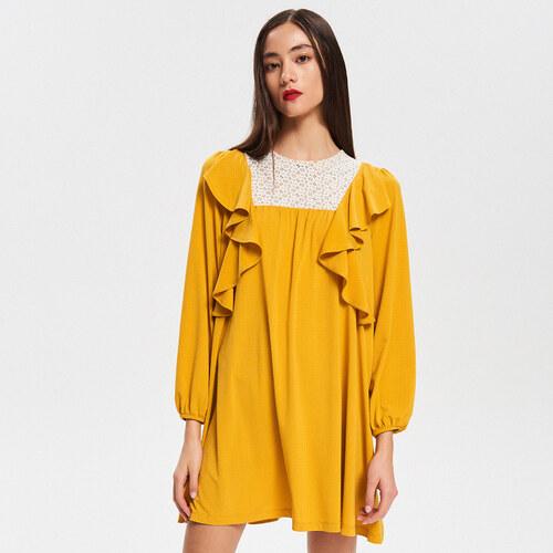 Reserved - Šaty s naberanými rukávmi - Žltá - Glami.sk 2d1c7874c24