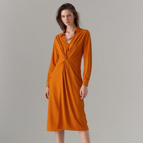 3fb1b4b9d45c Mohito - Košeľové šaty s uzlom - Oranžová - Glami.sk