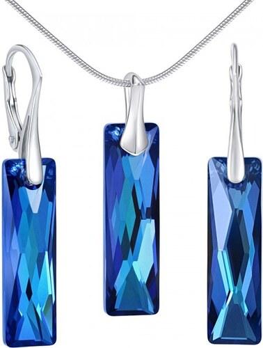 43c51a06a Silvego Strieborný set šperkov so Swarovski Crystals Queen Baguette Bermuda  Blue LSW184S