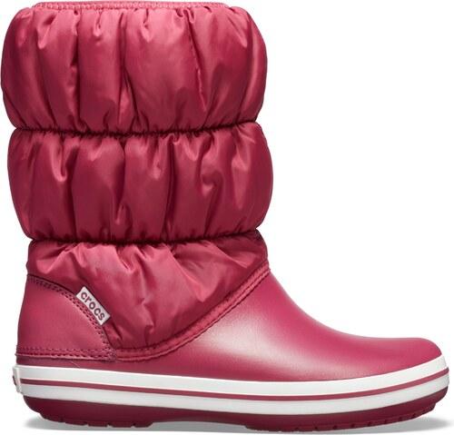 -24% Dámské zimní boty Crocs WINTER PUFF BOOT granátově červená bílá cae31561e3