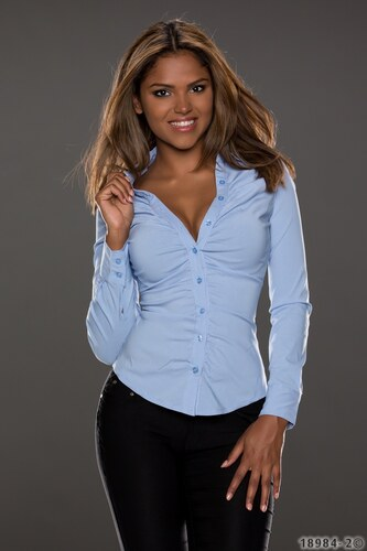 Dámská košile s dlouhým rukávem Forget me not pruhovaná - světle modrá db09cc47d1