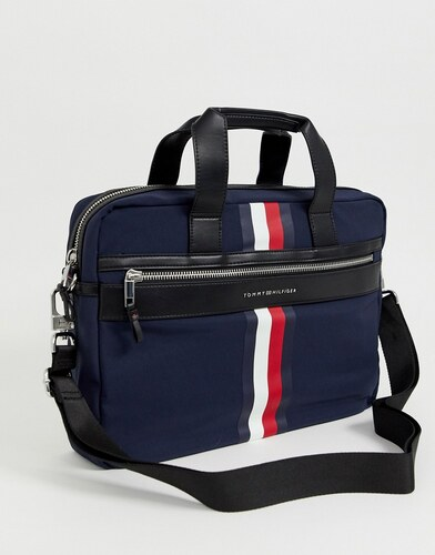 0d575501b1 Tommy Hilfiger laptop bag with icon stripe and faux leather contrasts in  navy - Navy