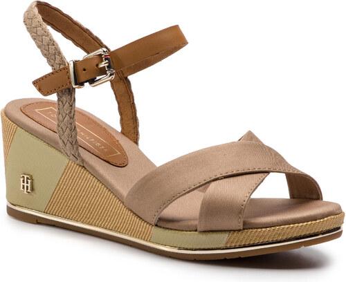 5486df23d05f4 Sandále TOMMY HILFIGER - Printed Mid Wedge Sandal FW0FW03933 Cobblestone 068
