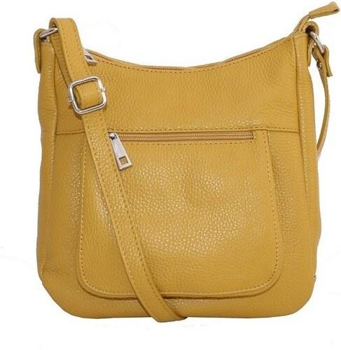 34cace04fb030 -42% Talianske kožené kabelky dámske cez rameno stredné žlté Zolana, NEW