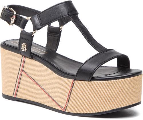 1209676b73 Szandál TOMMY HILFIGER - Elevated Leather Flatform Sandal FW0FW03944 Black  990