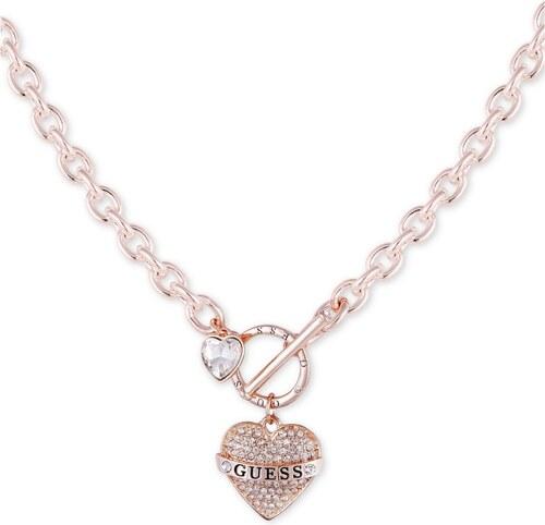 0aae427887 Guess náhrdelník chain rose gold se srdíčkem a kamínky - Glami.cz