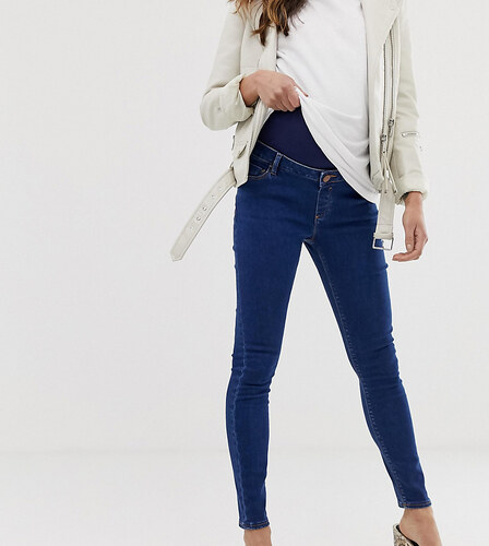 a486796e78ee -11% ASOS Maternity ASOS DESIGN Maternity Ridley high waisted skinny jeans  in rich mid blue wash with