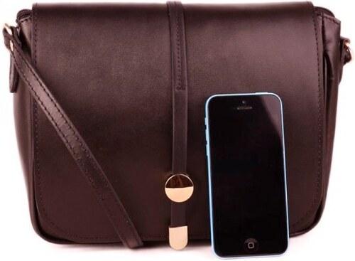 926866154762 ... TALIANSKE Talianska dámska kožená kabelka cez plece crossbody  čokoládová Aurélia