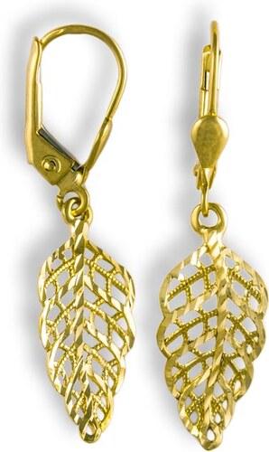 9bd0fcfe7 Pravé šperky GEMMAX Jewelry Zlaté visací náušnice Lístečky - Glami.cz