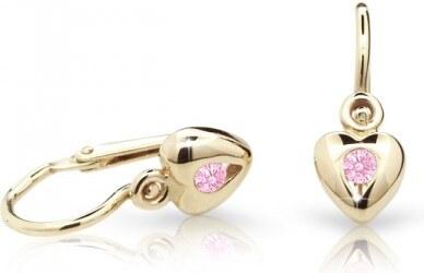 9764bd928 Cutie Kids Jewellery Zlaté dětské náušnice Cutie Jewellery srdíčka C1556  Pink